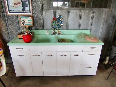 "RARE UNTOUCHED 72"" JADEITE GREEN Cast Iron Porcelain Double Sink DRAINBOARD"