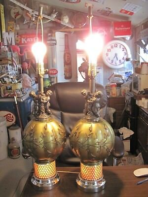 SET - 2 PAIR Mid Century Regency Cherub Green METALLIC Glass Brass Chrome Lamps