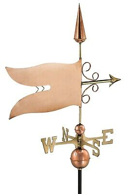Large Banner Polished Copper Weathervane