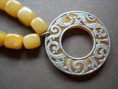 Silpada N1837 Yellow Serpentine Jade Bead & Disc Sterling Silver Necklace 48g