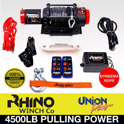 12v Electric Winch, 4500lb Synthetic Rope, Heavy Duty 4x4, ATV Recovery - AU310