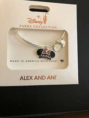 Disney World Alex and Ani Minnie Ears Mom Mothers Day Silver Bangle Bracelet NEW