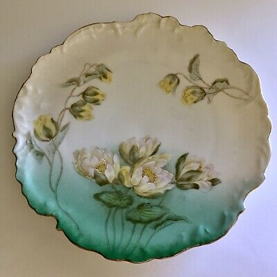 "Bavarian China Germany Hand Painted Green, Yellow Rose w/Gold Trim 8.25"" Plate"