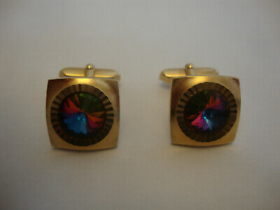 Nice old vintage retro gold plated metal 1950's 60's 70's Cufflinks stone set