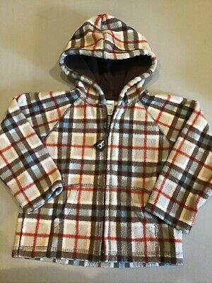 Boys Gymboree Jacket, Size 2T- 3T.  Fleece, Plaid.  Zip Up Coat, Fast Shipping