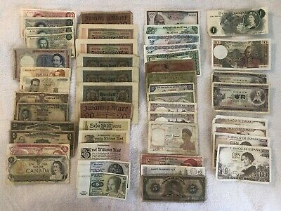 Lot of 48 Vintage Mixed Foreign World Currency Paper Money NICE!