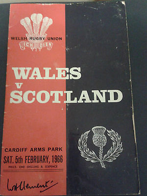 Wales v Scotland 1966 Rugby Programme