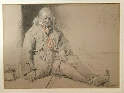 Superb 19th.Century Watercolour Drawing Study Of A Gentleman British 1800s