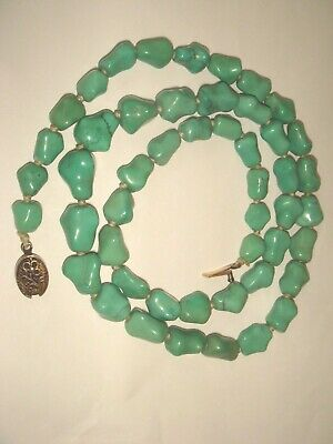 "VTG. CHINESE 25.5"" GRADUATED 59.6gr GREEN TURQUOISE SILVER KNOTTED BEAD NECKLACE"