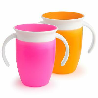 Munchkin Miracle 360 Trainer Cup Pink/Orange 7 Ounce 2 Count