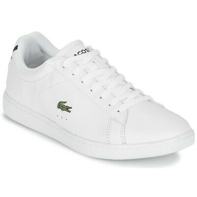 584298566b3 LACOSTE CARNABY EVO BL 1 Junior White   Navy Trainers Kids Sport ...