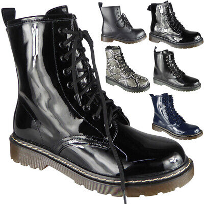 Ladies Ankle Boots Womens Chunky Shiny Combat Lace Up Goth Punk Army Shoes Size