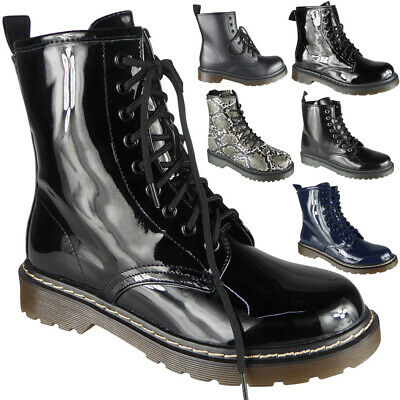 Womens Ankle Chunky Ladies Lace Up Goth Punk Shiny New Platform Shoes Boots Size
