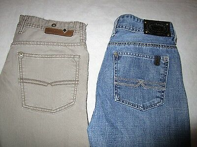 2 pairs of Boys Bufflalo Jeans, size 14.  Blue, Brown. 28x28  David Bitton