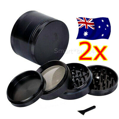 2X Metal Zinc Alloy Tobacco Herb Grinder 4-Layers Hand Muller Smoke Crusher OZ