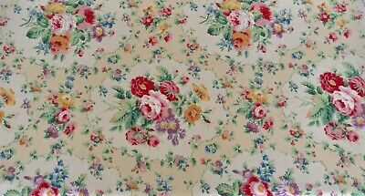Vintage Stunning Linen Lined Curtain Floral Chintz Shabby Chic Country Cottage