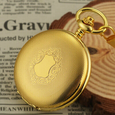 Gold Luxury Antique Mechanical Pocket Watch Skeleton Wind up Roman Dial Mens