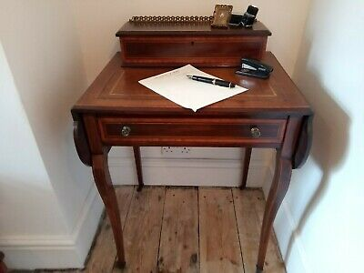 Gorgeous Antique Small Edwardian Ladies Mahogany Writing Table Desk Leather Top