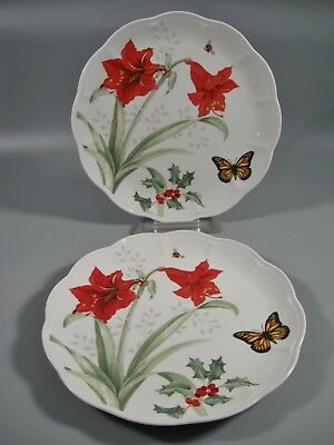2 Lenox Butterfly Meadow Holiday Dinner Plates Monarch NEW