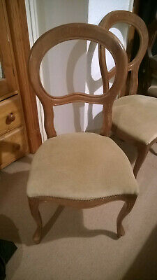 6 Antique Type Balloon Back Dining Chair, Good Condition,  Wood, Fabric Padded