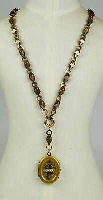 Antique Victorian Rose GF Book Chain Locket Necklace Gold Fronts RARE EN1040
