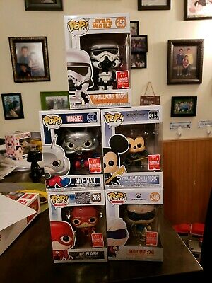 Lot Of 5 Funko Pops! M Mouse, Ant Man,  Flash, Trooper, Soldier 76 2018 SDCC