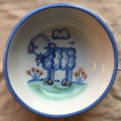 M A Hadley Lot of 2,  5 inch Bowls with Lamb Picture Soup Cereal