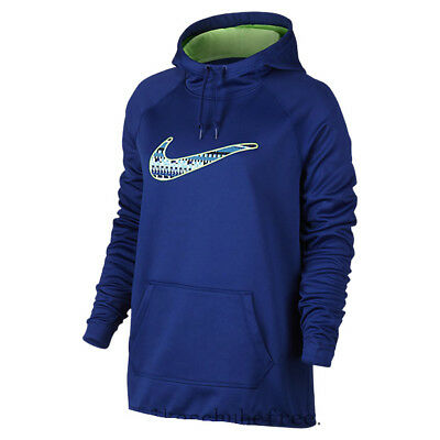 Details about Women's Nike Therma Fit PULLOVER Hoodie 819160 455 BLUE GREEN