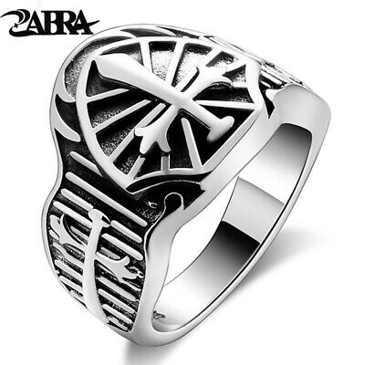 ZABRA Genuine Sterling Silver 925 Sword Cross Vintage Men Ring Retro Black Punk