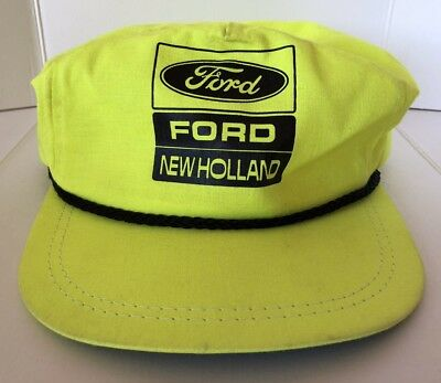 Vintage Ford New Holland Neon Yellow SnapBack Hat Leather Strap K-Products