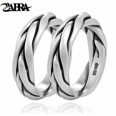 ZABRA Real Solid 999 Sterling Silver Couple Rings For Women Men Adjustable Ring