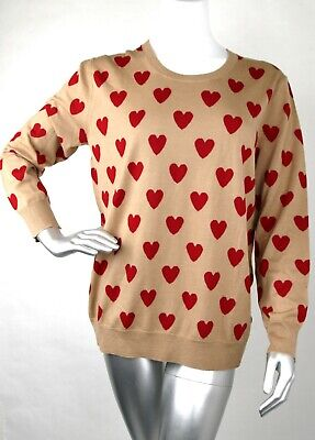 579a9fbc3fe3df $475 Burberry Women's Camel/Red Wool Crewneck Pullover Sweater XL 4018306  1001