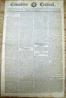 1791 newspaper Indian treaty w WILLIAM BLOUNT marks border for STATE o TENNESSEE