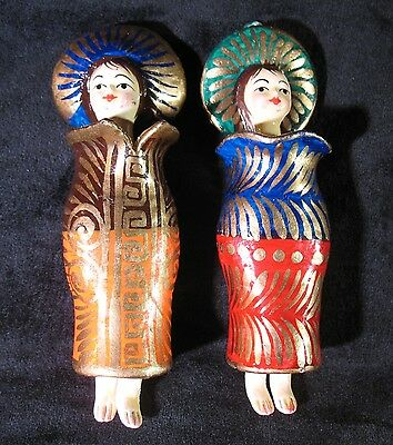 Two Vintage Asian Hand Painted Ceramic Doll Ornaments With Moveable Heads & Legs