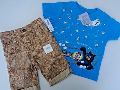 NEW Lot of 2 Boys Toddler Lion Shorts Old Navy Glow T-shirt Size 2T 2 Camp Art