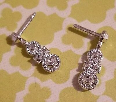 Barbie Doll Accessories Holiday 2013 Silver Dangle Earrings Only Jewelry