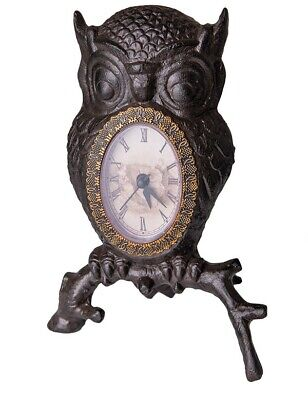 Victorian Trading Co Cast Iron Wise Old Owl Clock