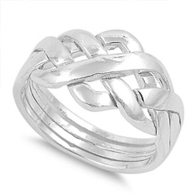 925 Sterling Silver Celtic Knot Puzzle Wedding Ring