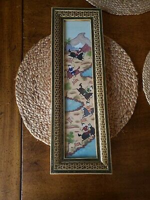 Vintage Persian Khatam Framed Marquetry Inlay Hand Painted Hunting Scene