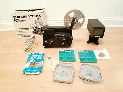 CHINON 3000GL 8mm Cine Projector & Goldbeam Tele Cine Converter GV10 & Film Reel