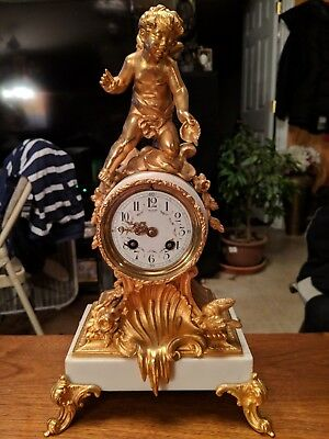 Stunning 1880s French Gold Gilted Mantel Clock