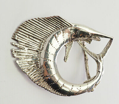 Amazing vintage sterling silver detailed Sailfish fish marine belt buckle