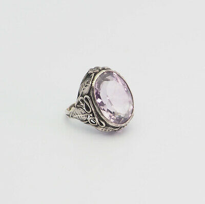 Antique Art Nouveau handmade sterling silver amethyst small child ring size 2.5