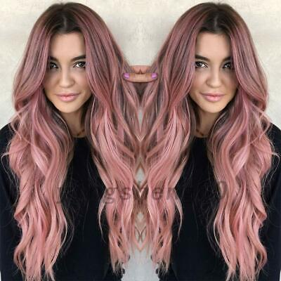 Women Long  Wig Black Pink Rose Taro Color Ombre Wavy Hair Hairstyle AU