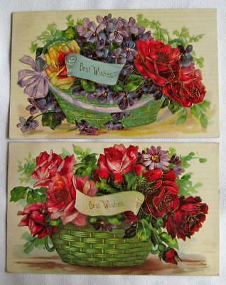 Vintage Lot of 2 Vintage 1908 BEST WISHES Postcards Roses and Gold Accents #7-q