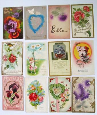 Lot of 12 Vintage Best Wishes and HOLIDAY VICTORIAN Postcards #13-q