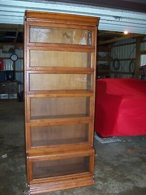 Antique Barrister Bookcase Walnut Step Back
