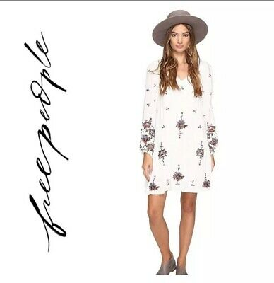 f35f68fc4e020 Free People Oxford Floral Embroidered Mini Dress V-Neck Flowy Neutral XS New