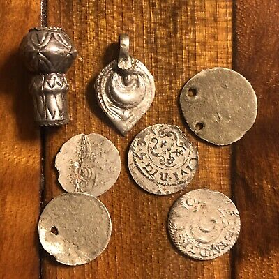 7 European Silver Artifacts Lot Medieval Ancient Coins Beads Pendant Old