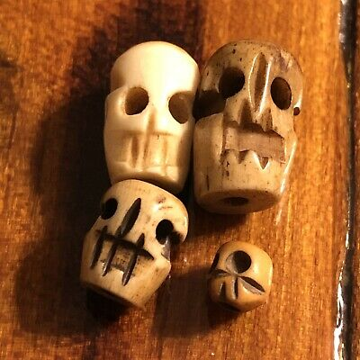 4 Skull Beads Carved Out Of Bovine (Cattle) Bone Pre Columbian Style Collectible